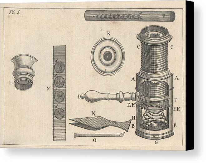 Artwork Canvas Print featuring the photograph 18th Century Microscope, Artwork by Science Photo Library