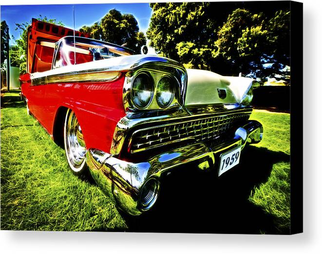 1959 Ford Canvas Print featuring the photograph 1959 Ford Fairlane 500 Skyliner by motography aka Phil Clark