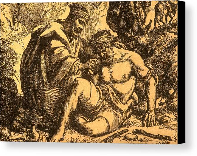 Parable Canvas Print featuring the drawing The Good Samaritan by English School