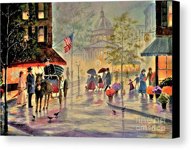 City Scene Canvas Print featuring the painting After The Rain by Marilyn Smith