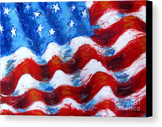 American Flag Canvas Print featuring the painting American Flag by Venus