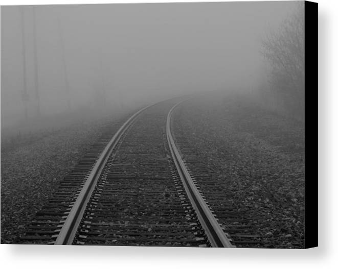As I Walk The Rails Canvas Print featuring the photograph As I Walk The Rails by Rachel Cohen