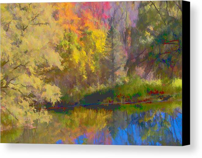 Autumn Canvas Print featuring the photograph Autumn Beside The Pond by Don Schwartz