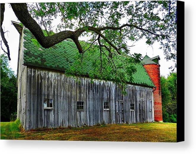 Old Barns Canvas Print featuring the photograph Barn With Brick Silo by Julie Dant