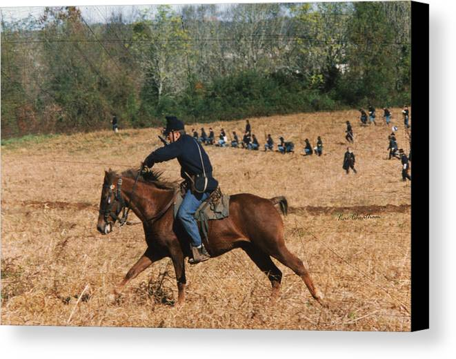 Horse Canvas Print featuring the digital art Battle Of Franklin - 4 by Kae Cheatham