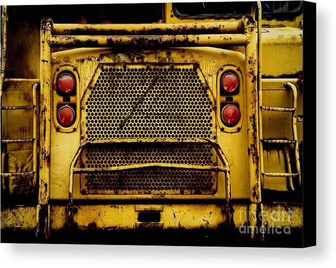 Bulldozer Canvas Print featuring the photograph Big Dump Truck Grille by Amy Cicconi