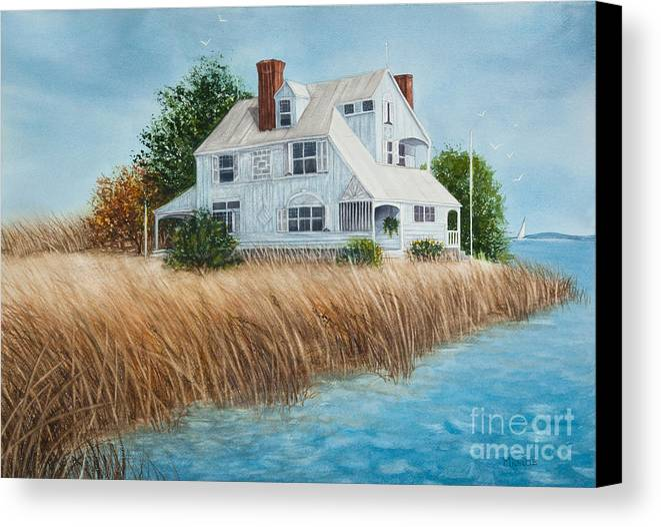 Blue beach house canvas print canvas art by michelle for Beach house prints