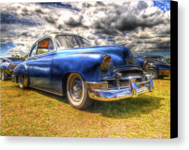 Fifties Automobile Canvas Print featuring the photograph Blue Chevy Deluxe - Hdr by Phil 'motography' Clark