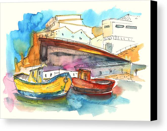 Portugal Art Canvas Print featuring the painting Boats In Ericeira In Portugal by Miki De Goodaboom