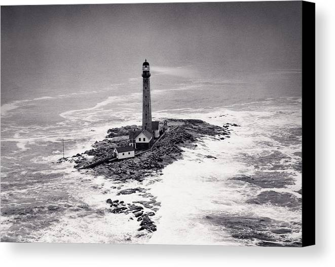 Lighthouse Canvas Print featuring the photograph Boon Island Light Tower Circa 1950 by Aged Pixel