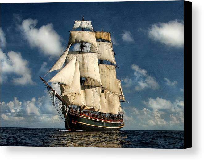 Hms Bounty Canvas Print featuring the digital art Bounty Making Way by Peter Chilelli