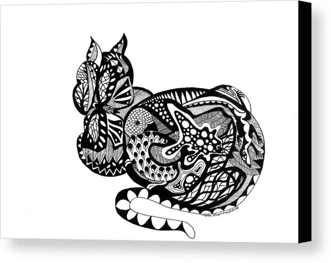 Cat Canvas Print featuring the drawing Cat With Design by Petra Stephens