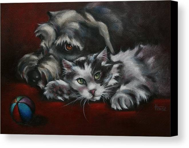 Dog Canvas Print featuring the painting Christmas Companions by Cynthia House