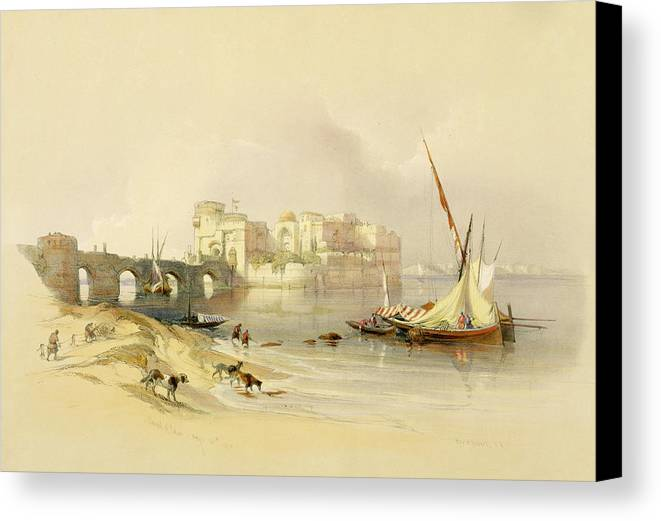 Port Canvas Print featuring the painting Citadel Of Sidon by David Roberts