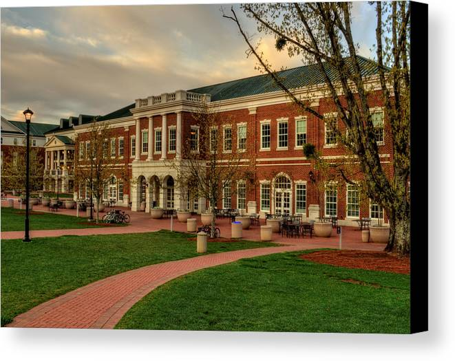 Western Carolina University Canvas Print featuring the photograph Courtyard Dining Hall - Wcu by Greg and Chrystal Mimbs