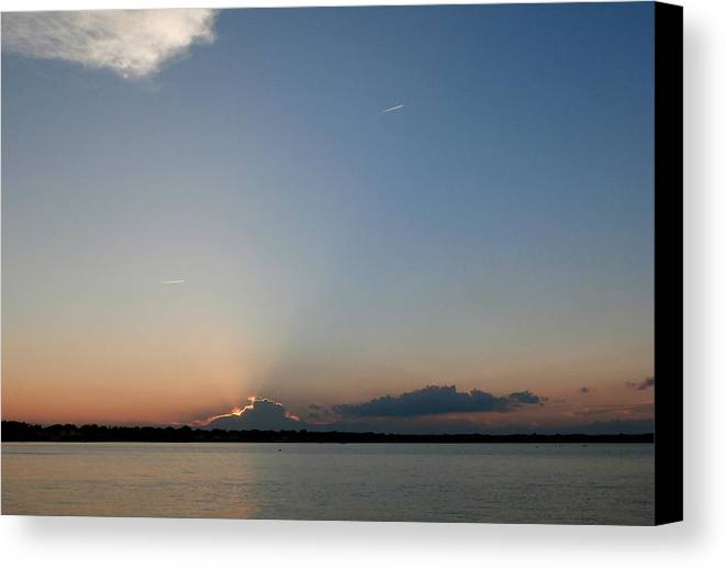 Dark Clouds Canvas Print featuring the photograph Covered Sunset by Kate Gallagher