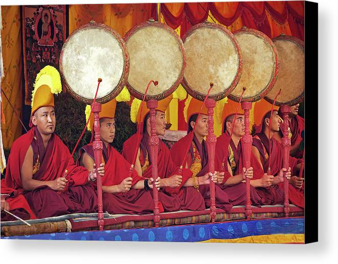 Drums Canvas Print featuring the photograph Drumming For Lama Dancing by Karma Ganzler