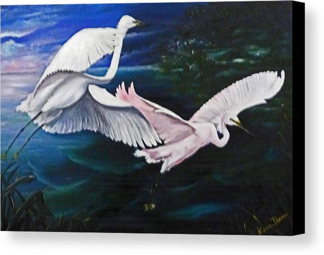 Snowy Egrets Canvas Print featuring the painting Early Flight by Karin Dawn Kelshall- Best