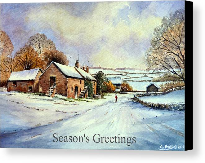 Greeting Cards Canvas Print featuring the painting Early Morning Snow Christmas Cards by Andrew Read