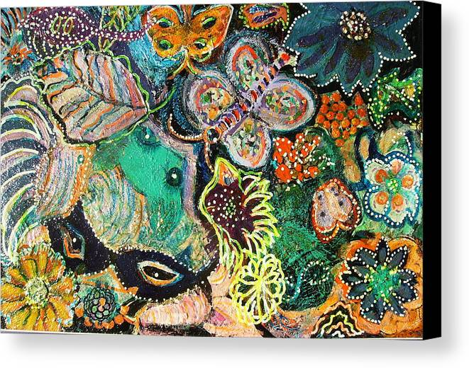 Colorful Canvas Print featuring the mixed media Eyes In Hiding by Anne-Elizabeth Whiteway