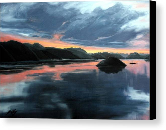 Sunrise Canvas Print featuring the painting Farsund Sunrise by Janet King