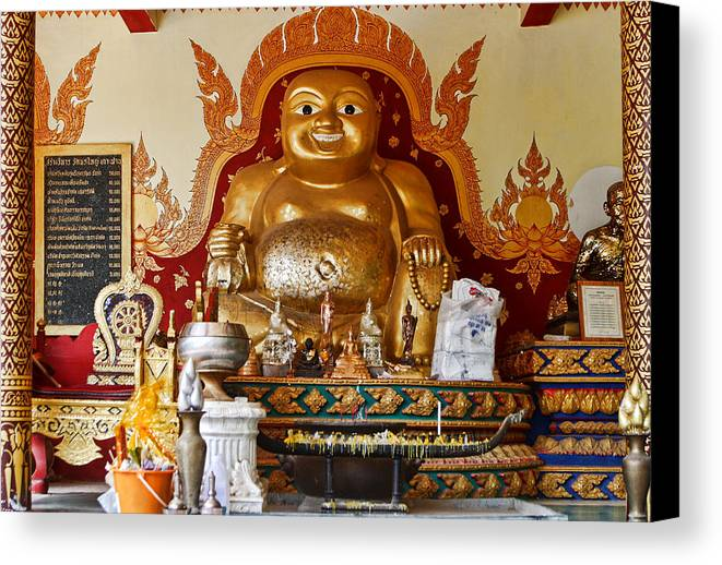 Travel Canvas Print featuring the photograph Fat Gold Budda by Linda Phelps