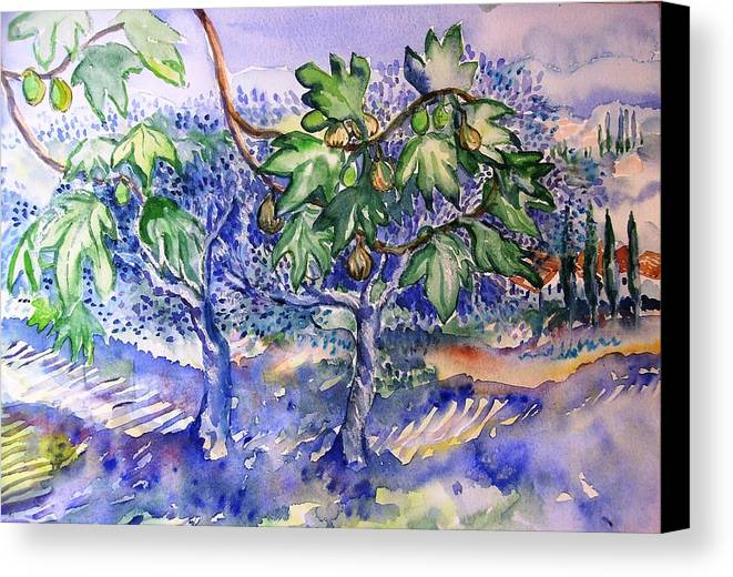 Fig Tree Canvas Print Featuring The Painting Fig Tree And Olive Trees In A Tuscan  Garden