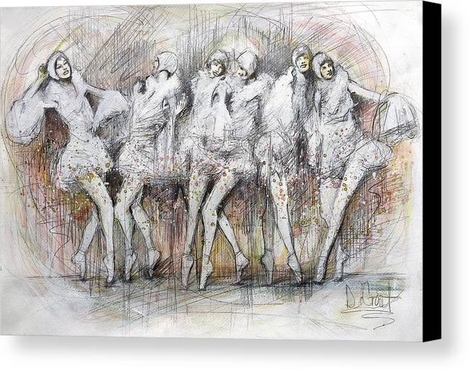 Dainty Canvas Print featuring the painting Flight Dancers by Gregory DeGroat