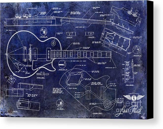 Gibson les paul blueprint canvas print canvas art by jon neidert les paul blueprint canvas print featuring the drawing gibson les paul blueprint by jon neidert malvernweather Images