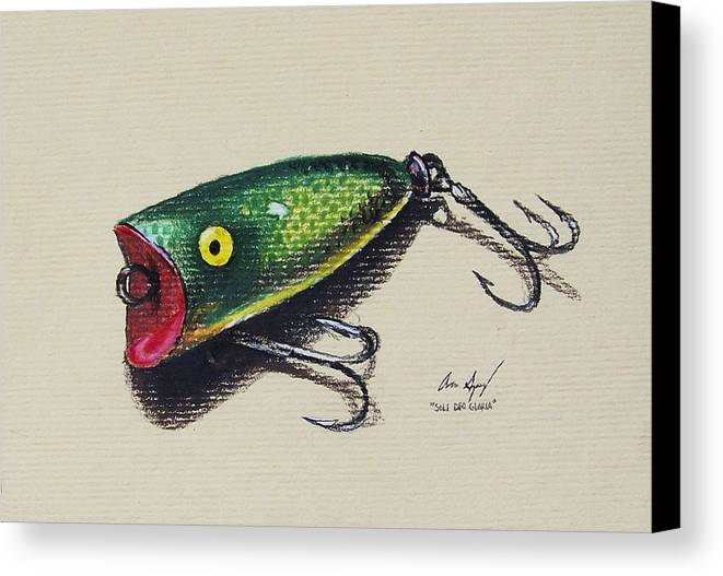 Fish Canvas Print featuring the painting Green Lure by Aaron Spong