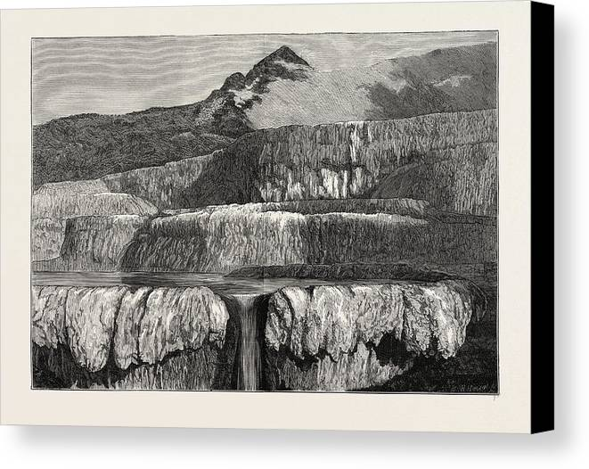 Hot Canvas Print featuring the drawing Hot Lakes Of New Zealand The Tattooed Basin by New Zealand School