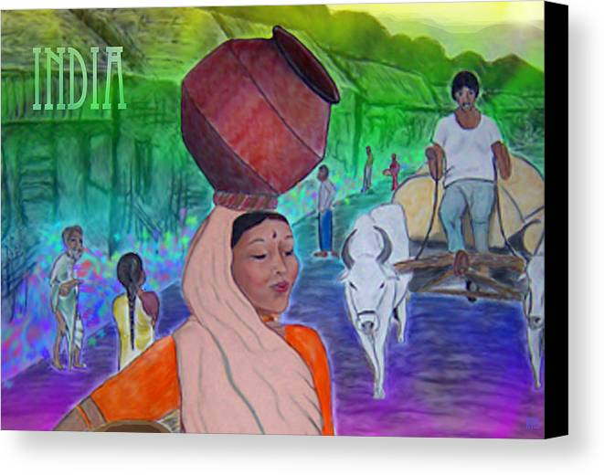 India Canvas Print featuring the digital art India by Karen R Scoville