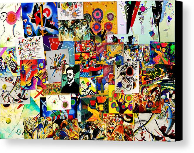 Kandinsky Canvas Print featuring the digital art Kandisky Collage by Galeria Trompiz