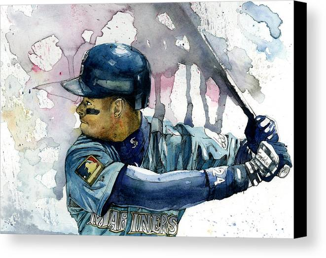 Ken Canvas Print featuring the painting Ken Griffey Jr. by Michael Pattison