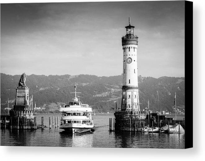Lighthouse Canvas Print featuring the photograph Lighthouse Lindau Lake Constance Germany by Matthias Hauser