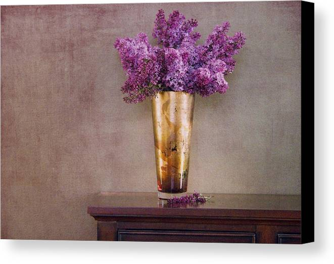 Lilacs Canvas Print featuring the photograph Lilacs In Vase 1 by Rebecca Cozart