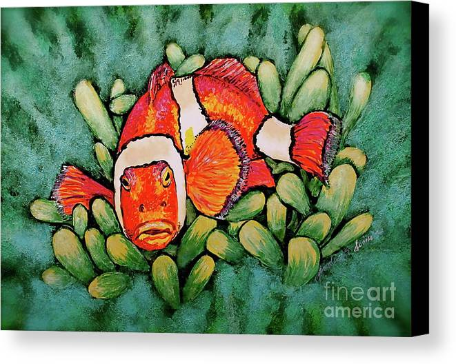 Fish Canvas Print featuring the painting Mad Clown by Linda Simon