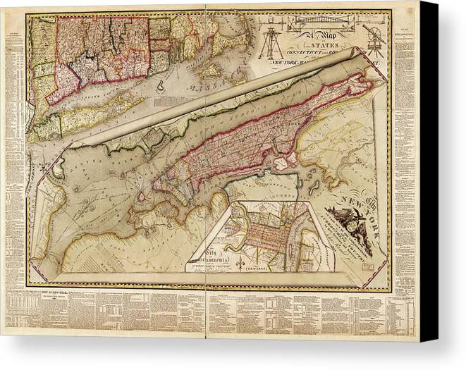 New York City Canvas Print featuring the photograph Map Of New York City by Library Of Congress, Geography And Map Division