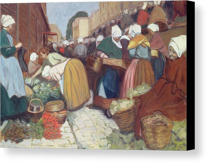 French Canvas Print featuring the painting Market In Brest by Fernand Piet