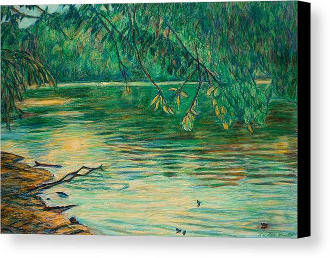 Landscape Canvas Print featuring the painting Mid-spring On The New River by Kendall Kessler