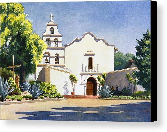 California Mission Canvas Print featuring the painting Mission San Diego De Alcala by Mary Helmreich