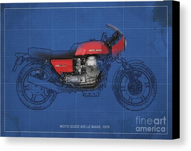 Le Mans Canvas Print featuring the mixed media Moto Guzzi 850 Le Mans 1976 by Pablo Franchi