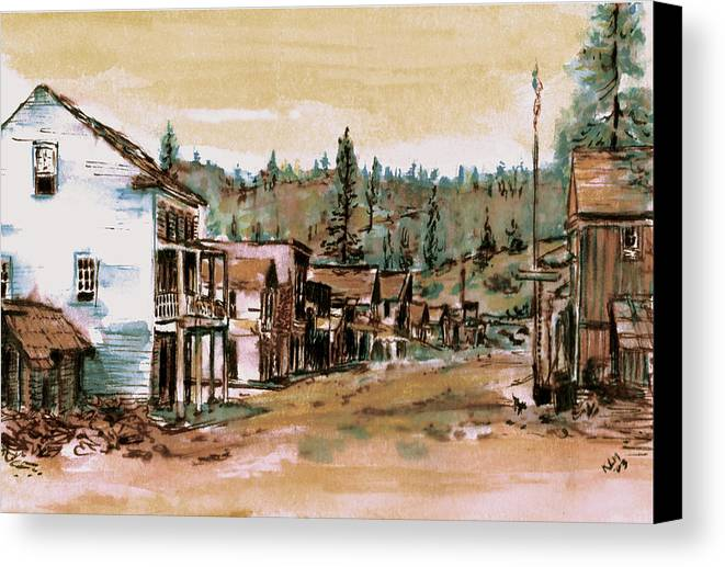 Canvas Print featuring the painting Murphys Camp California by Kitty Meekins