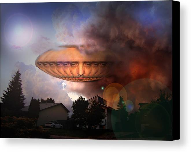 Surrealism Canvas Print featuring the digital art Mystic Ufo by Otto Rapp