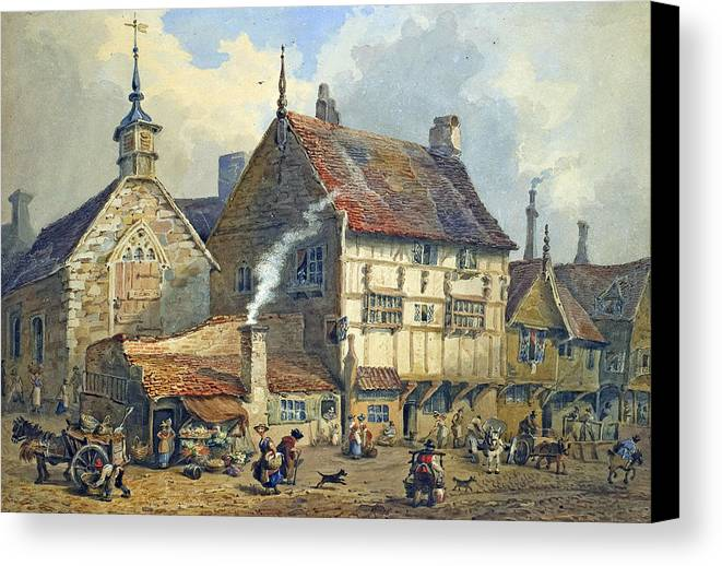 Old; Houses; House; St; Olaves; Church; Lower; Bridge; Street; Chester; Cheshire; Medieval; Architecture; Half-timbered; Half; Timbered; Daily; Life; Scene; Figure; Figures; Busy; Town; City; Shop; Shops; Commerce; Trade; Fruit And Vegetable; Stall; Fruit; Vegetable; Smoke; Smoking; Chimney; Anecdotal; Horse And Cart; Horse; Cart; English; British; Canvas Print featuring the painting Old Houses And St Olaves Church by George Shepherd