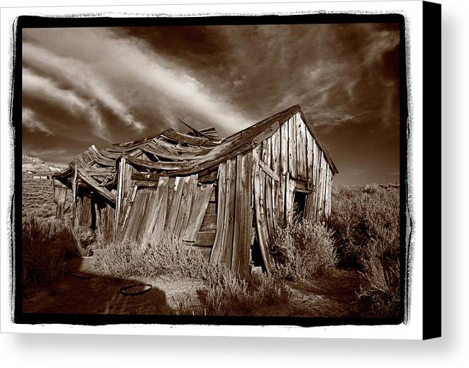 Black Canvas Print featuring the photograph Old Shack Bodie Ghost Town by Steve Gadomski