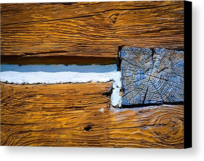 Yellow Canvas Print featuring the photograph Old Wooden Houses Timbers by Jozef Jankola