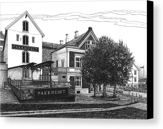 Pakkhuset Canvas Print featuring the drawing Pakkhuset by Janet King