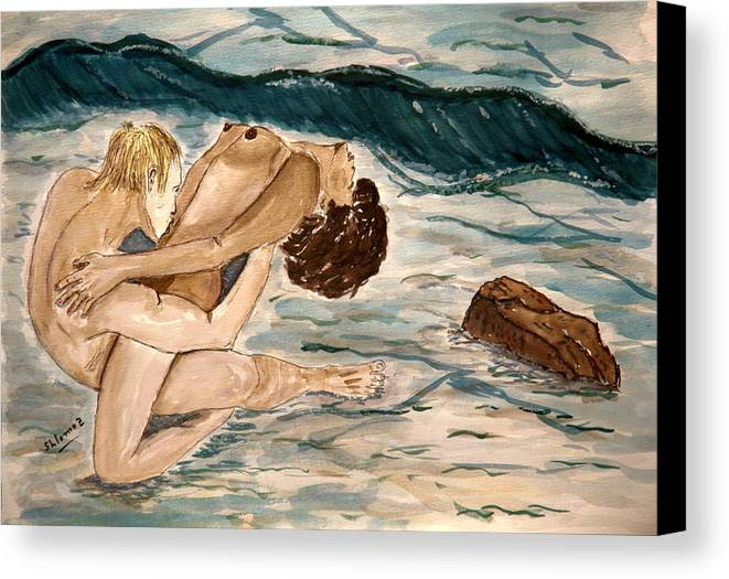 Nude Framed Prints Canvas Print featuring the painting Passion Of Love. by Shlomo Zangilevitch