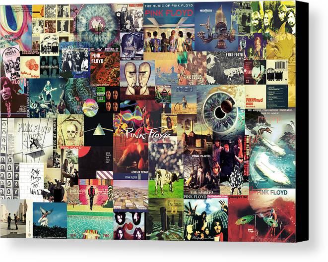 Pink Floyd Canvas Print featuring the digital art Pink Floyd Collage II by Taylan Apukovska